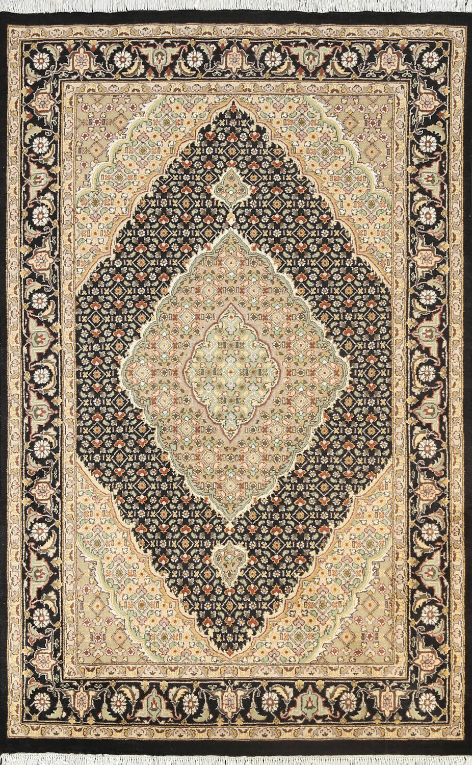 100% Vegetable Dye Tabriz Mahi Oriental Area Rug 4x6 image 1