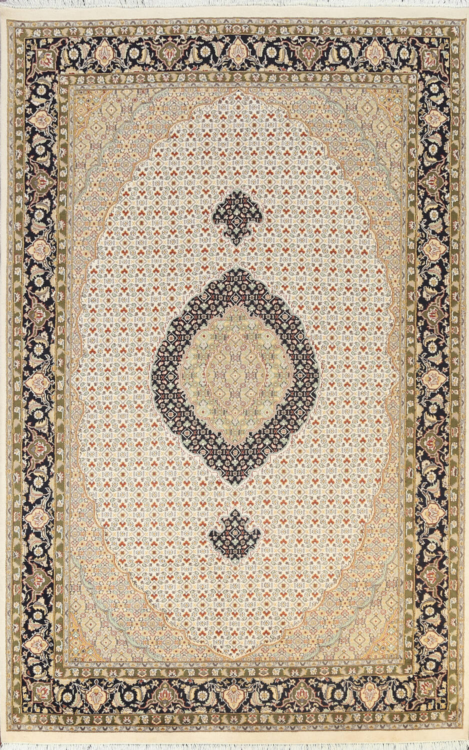 100% Vegetable Dye Tabriz Mahi Oriental Area Rug 6x9 image 1