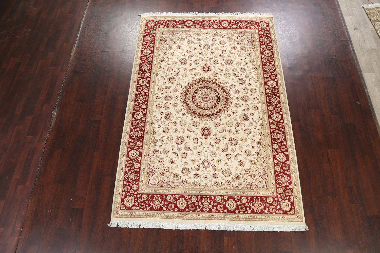 100% Vegetable Dye Floral Tabriz Oriental Area Rug 6x9 image 2