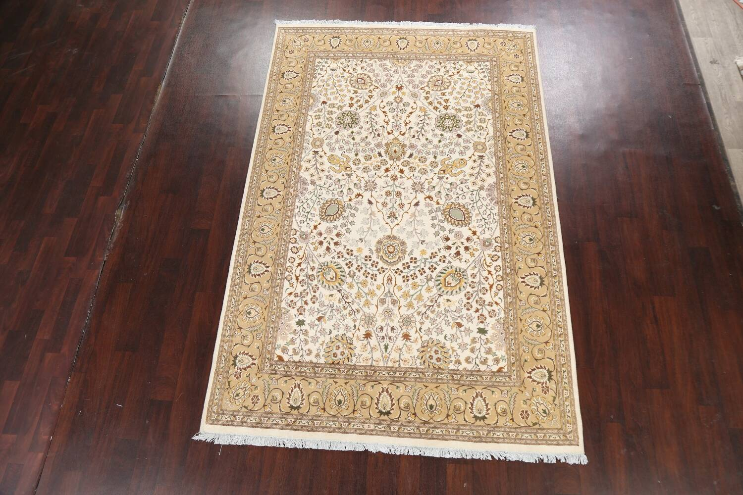 Vegetable Dye Floral Tabriz Oriental Area Rug 6x9 image 2