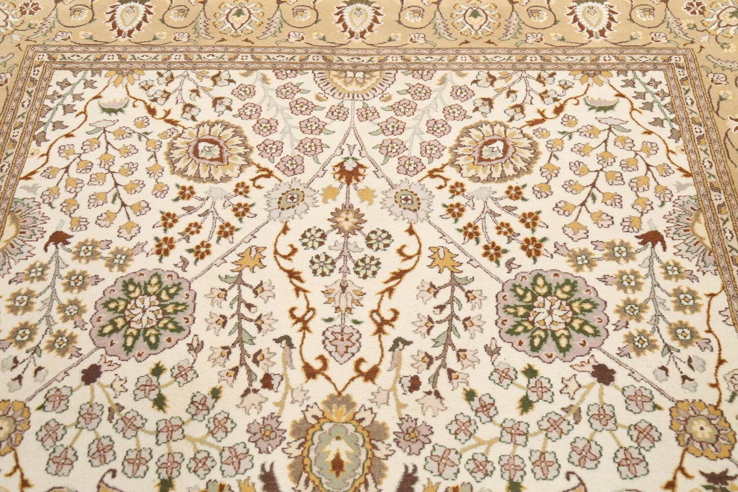 Vegetable Dye Floral Tabriz Oriental Area Rug 6x9 image 10