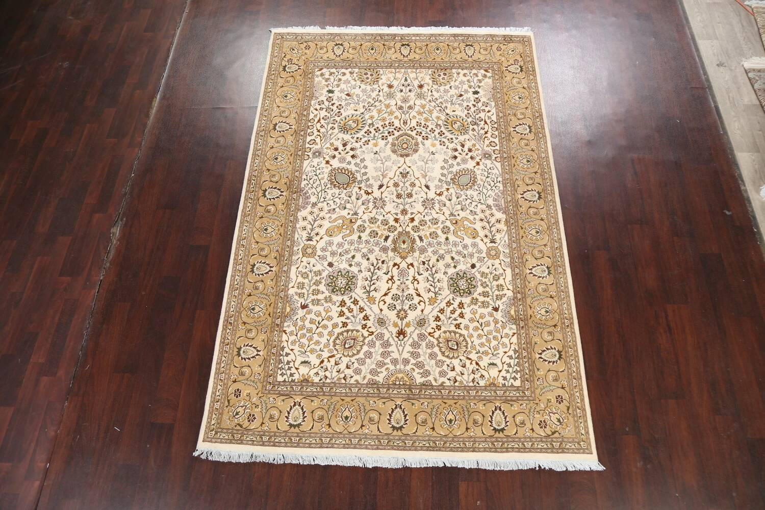 Vegetable Dye Floral Tabriz Oriental Area Rug 6x9 image 14