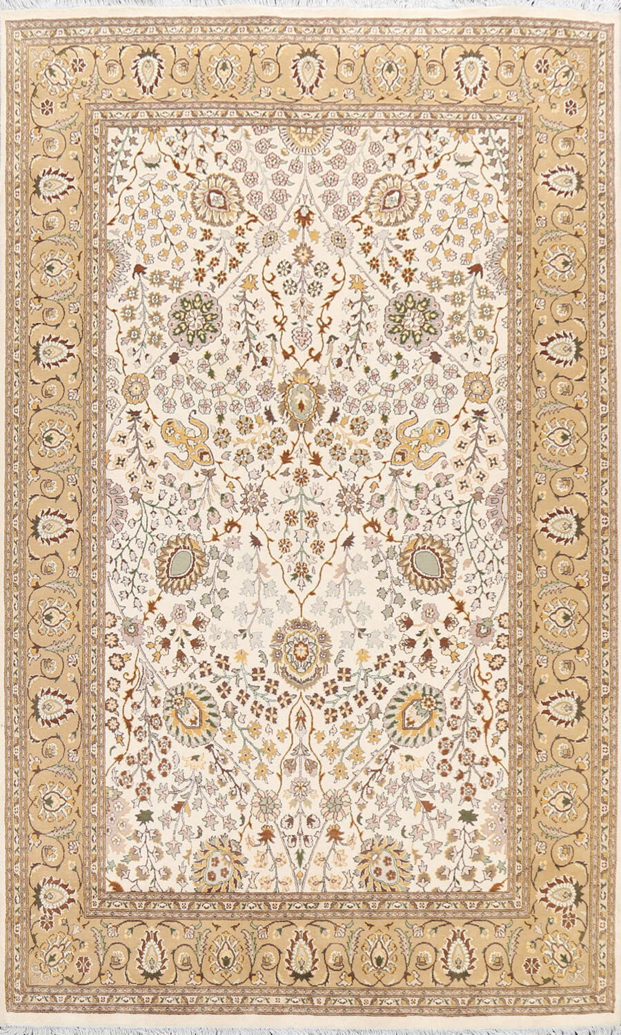 Vegetable Dye Floral Tabriz Oriental Area Rug 6x9 image 1