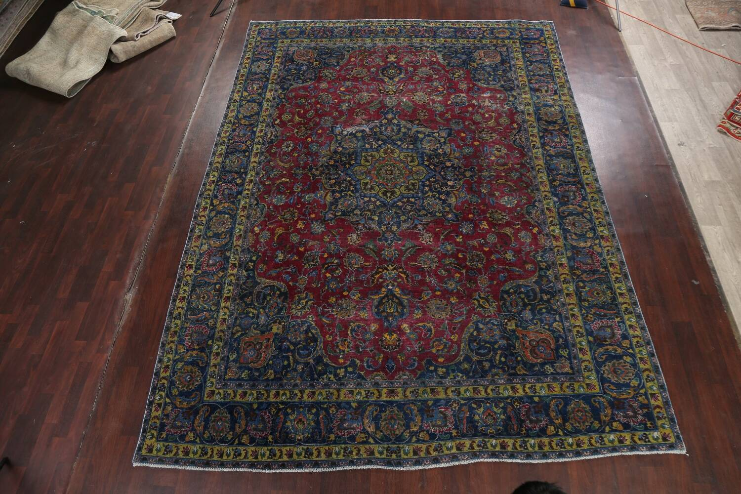Traditional Floral Mashad Persian Area Rug 9x13 image 2