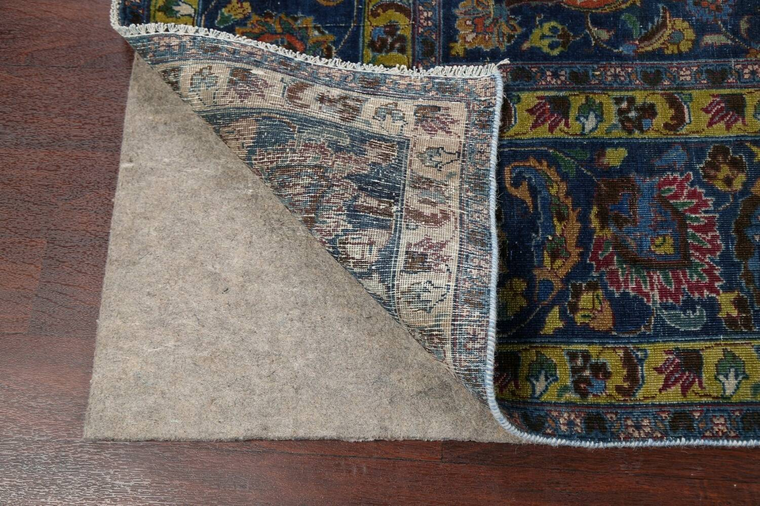 Traditional Floral Mashad Persian Area Rug 9x13 image 7