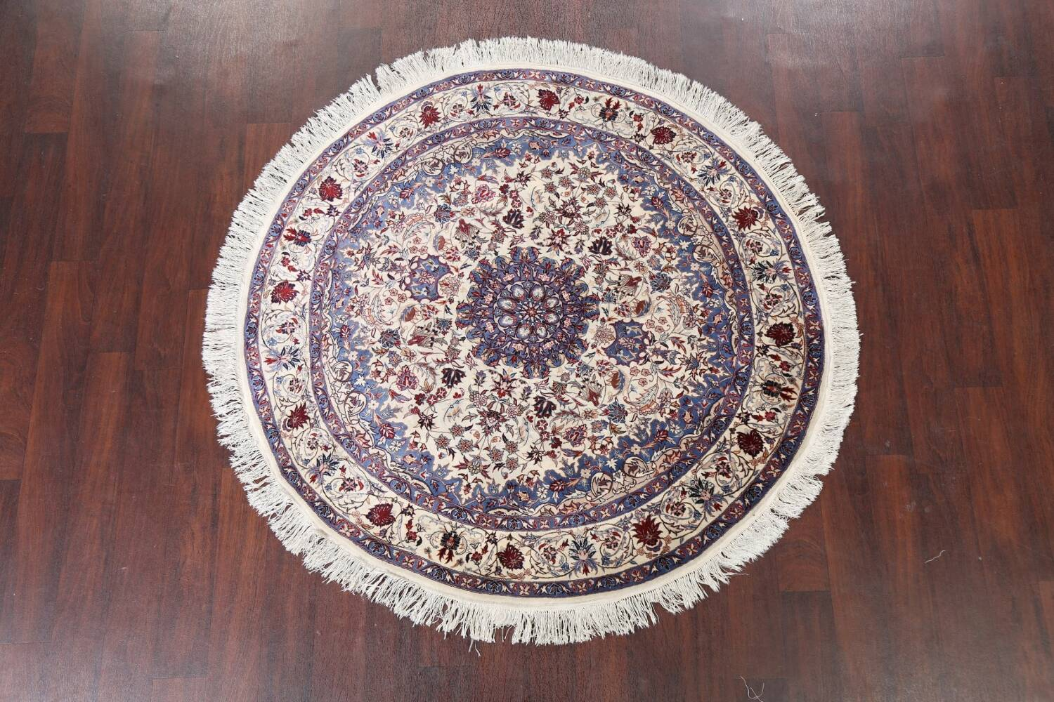 Floral Isfahan Persian Area Rug 6x6 Round image 2