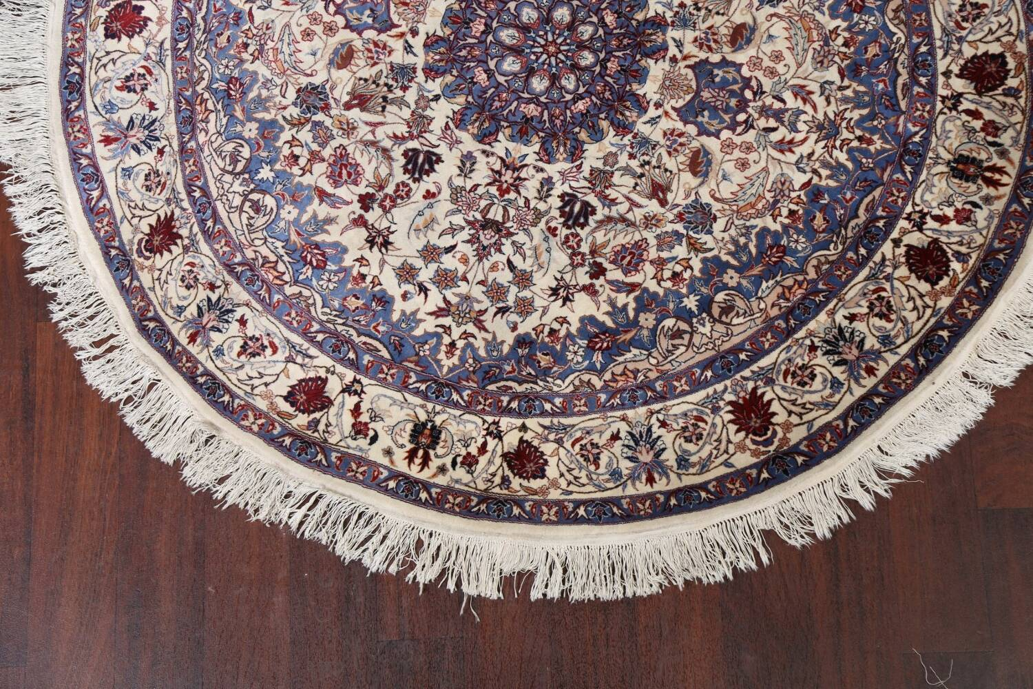 Floral Isfahan Persian Area Rug 6x6 Round image 5