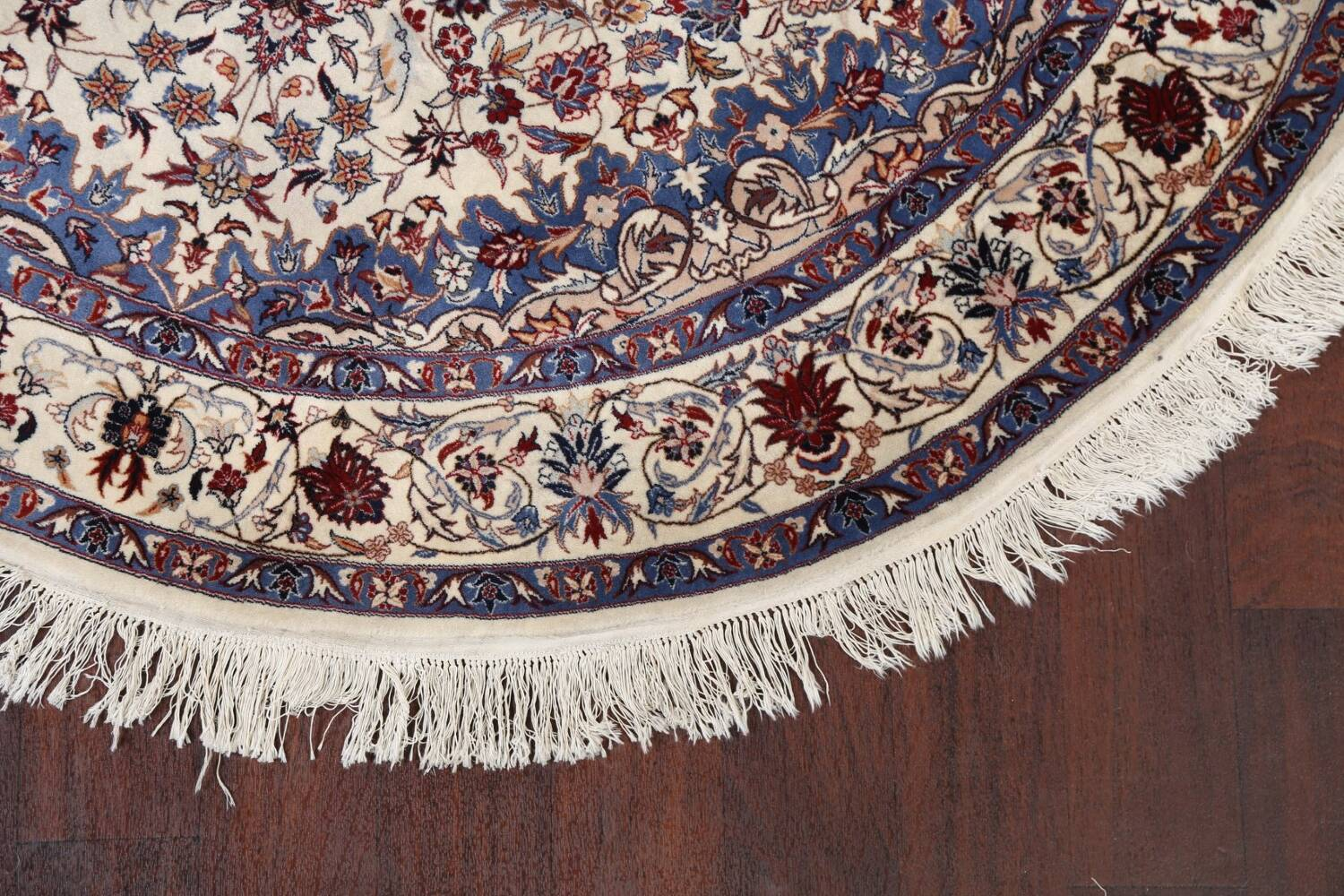 Floral Isfahan Persian Area Rug 6x6 Round image 6