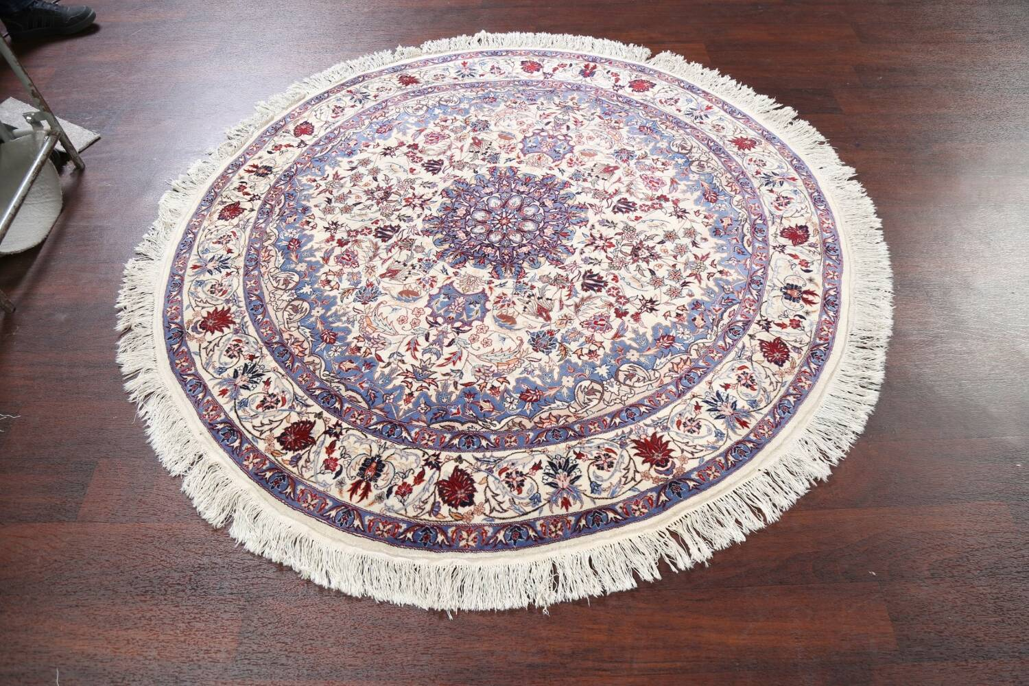 Floral Isfahan Persian Area Rug 6x6 Round image 9