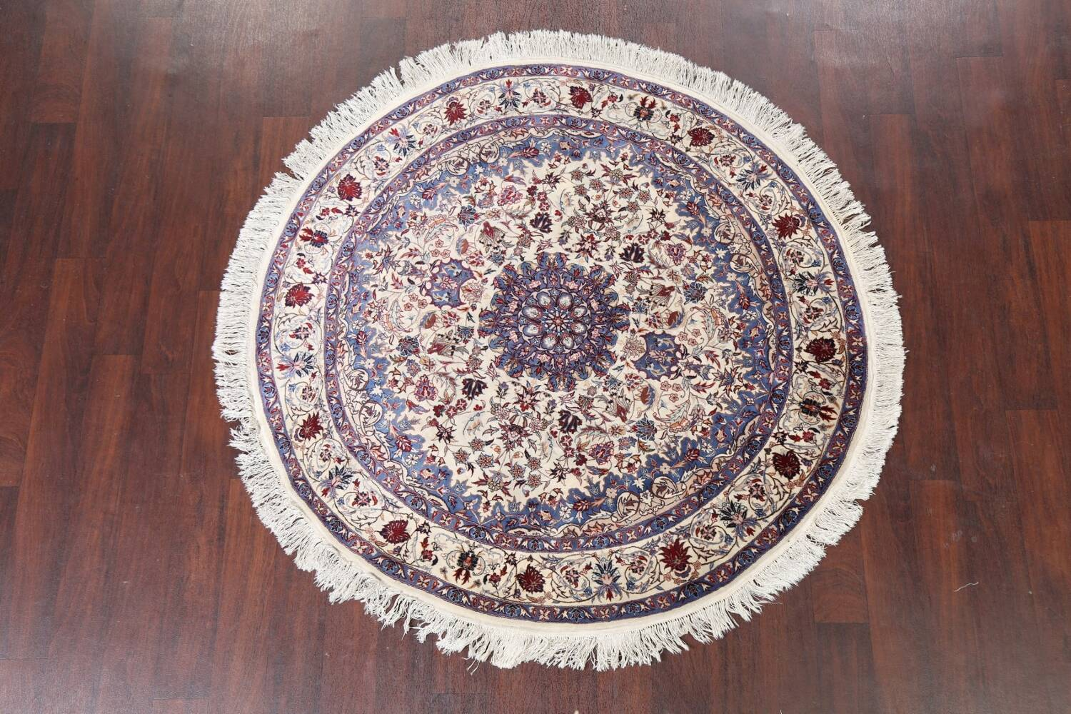 Floral Isfahan Persian Area Rug 6x6 Round image 10