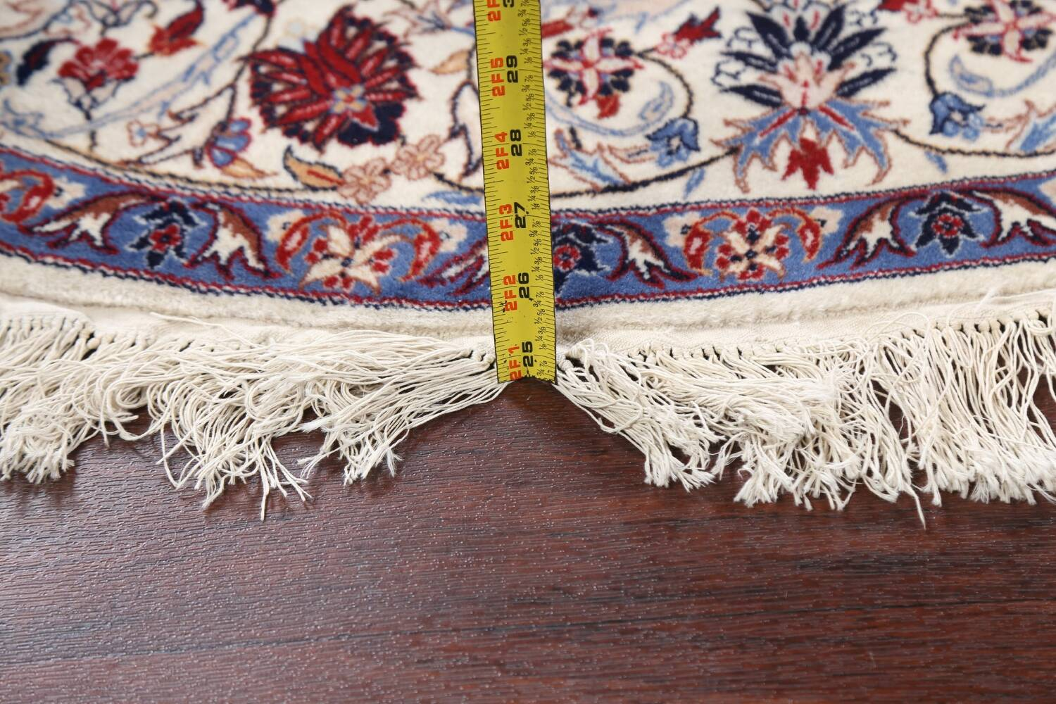 Floral Isfahan Persian Area Rug 6x6 Round image 13