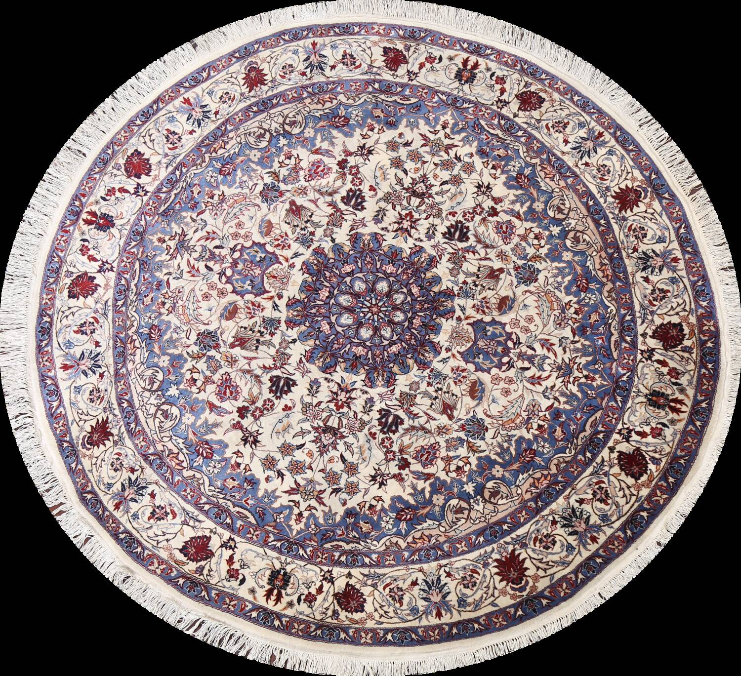 Floral Isfahan Persian Area Rug 6x6 Round image 1