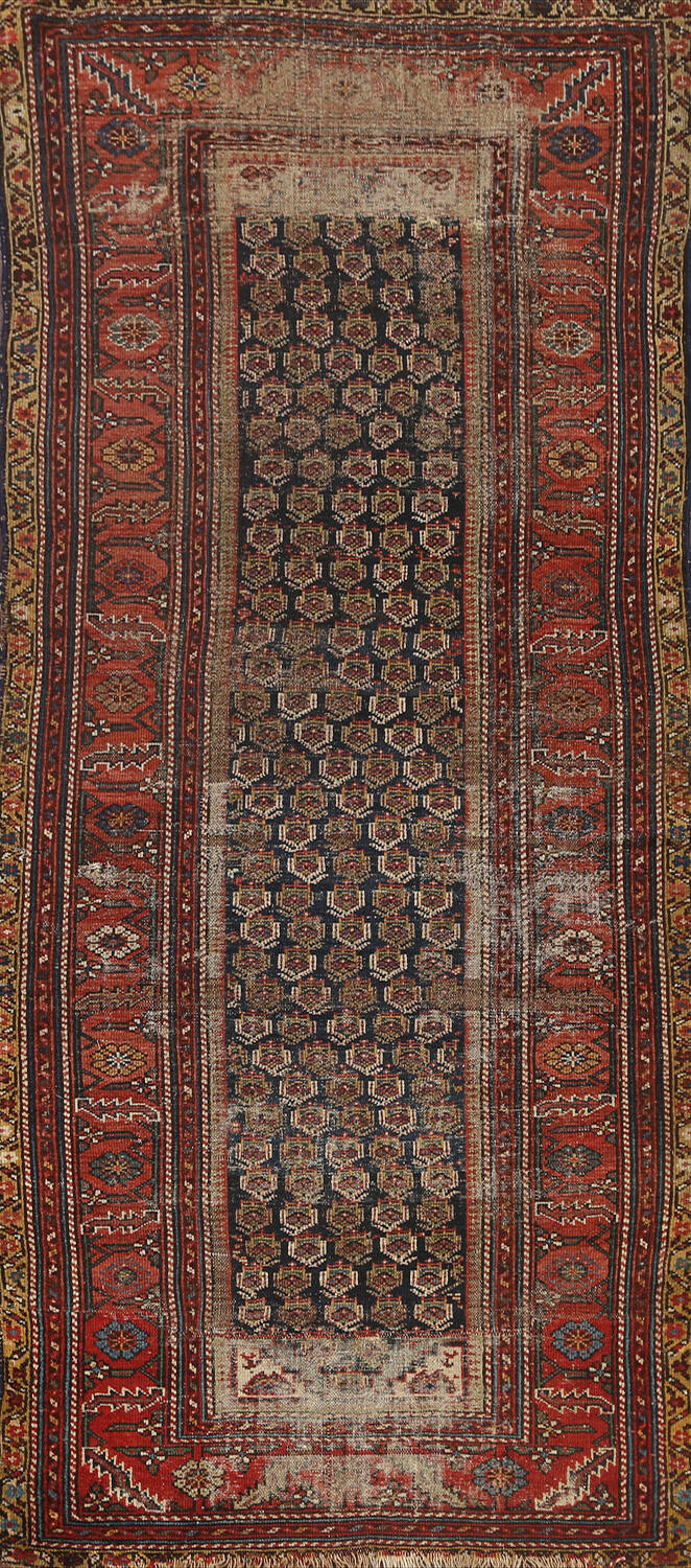 Pre-1900 Antique Tribal Malayer Persian Runner Rug 4x9 image 1