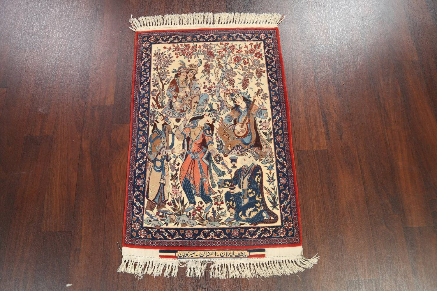 Antique Vegetable Dye Tableau Isfahan Persian Area Rug 2x3 image 2