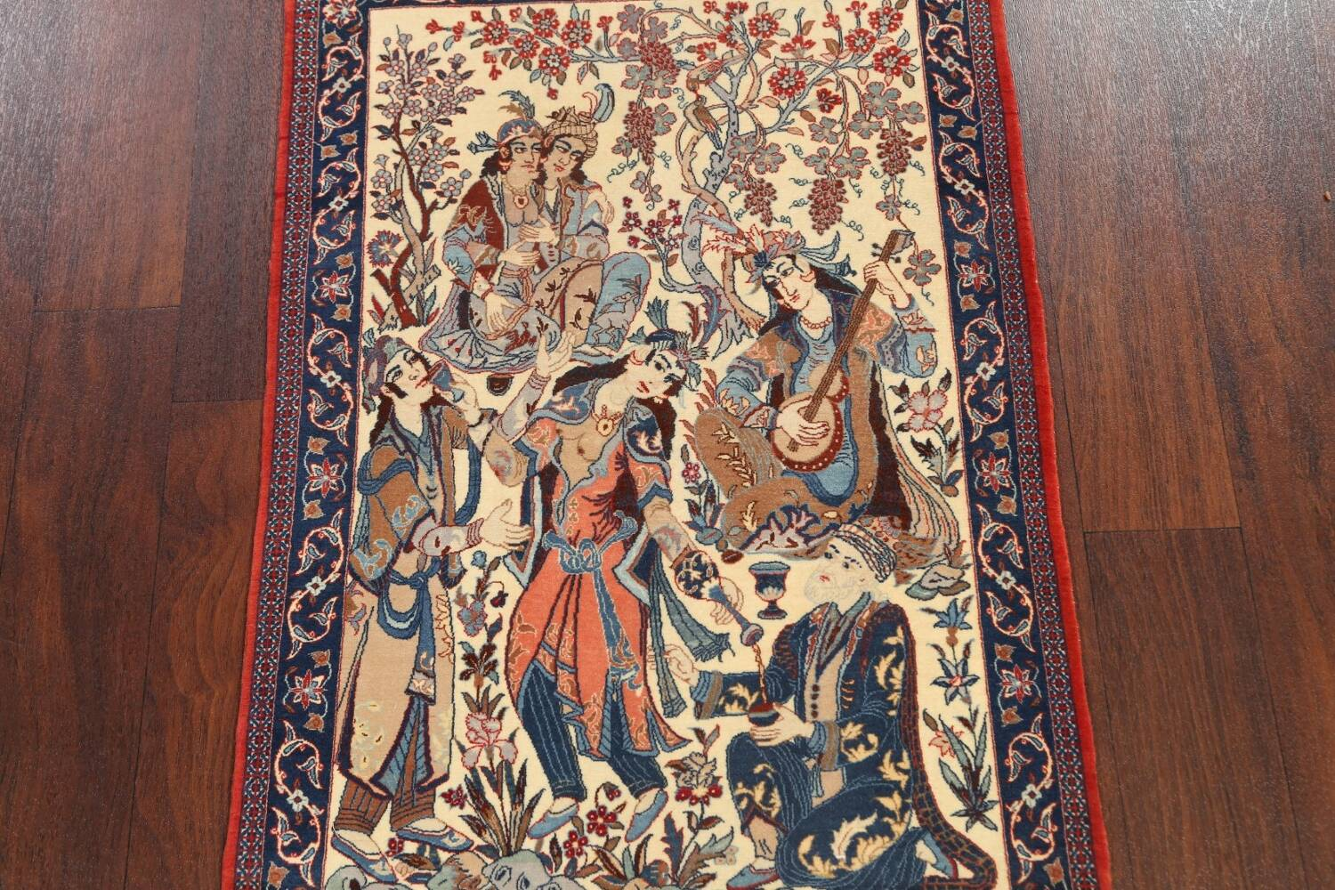 Antique Vegetable Dye Tableau Isfahan Persian Area Rug 2x3 image 3