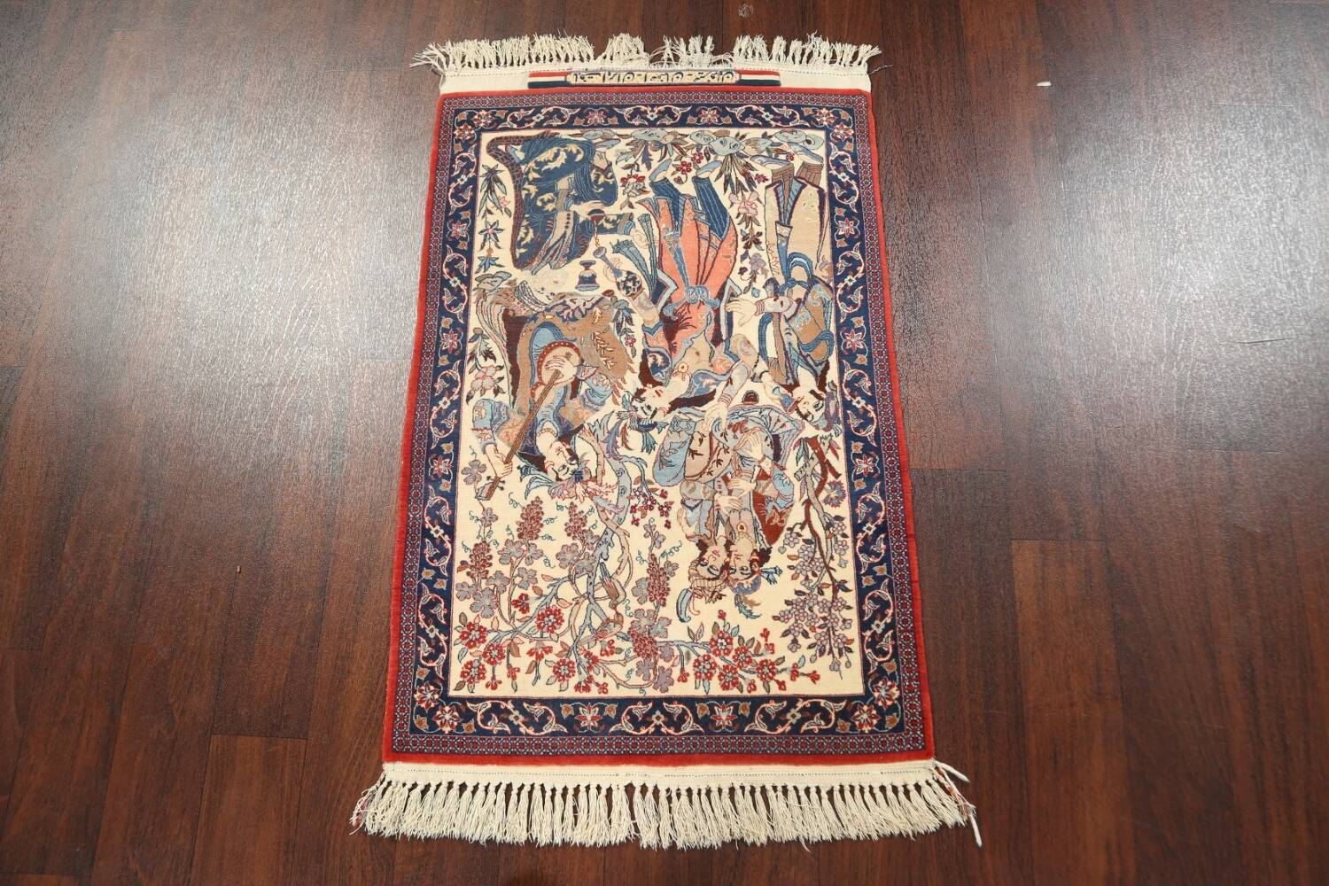 Antique Vegetable Dye Tableau Isfahan Persian Area Rug 2x3 image 12