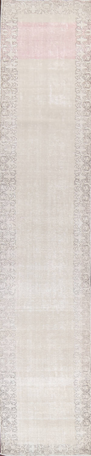 Muted Distressed Tabriz Persian Runner Rug 3x19 image 1