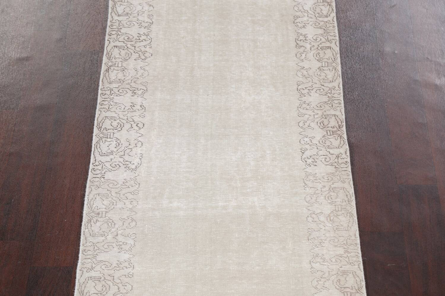 Muted Distressed Tabriz Persian Runner Rug 3x19 image 4