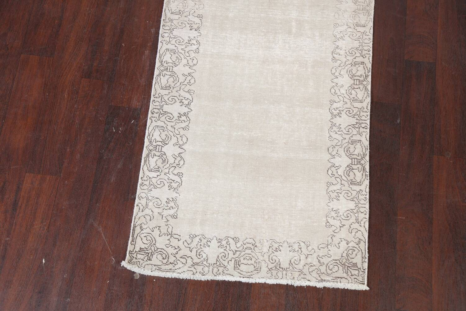 Muted Distressed Tabriz Persian Runner Rug 3x19 image 5