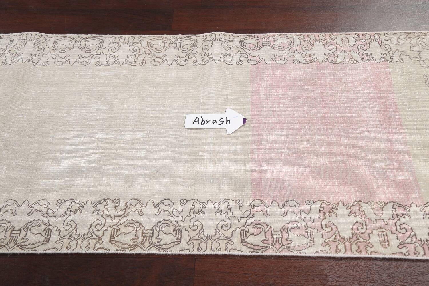 Muted Distressed Tabriz Persian Runner Rug 3x19 image 10