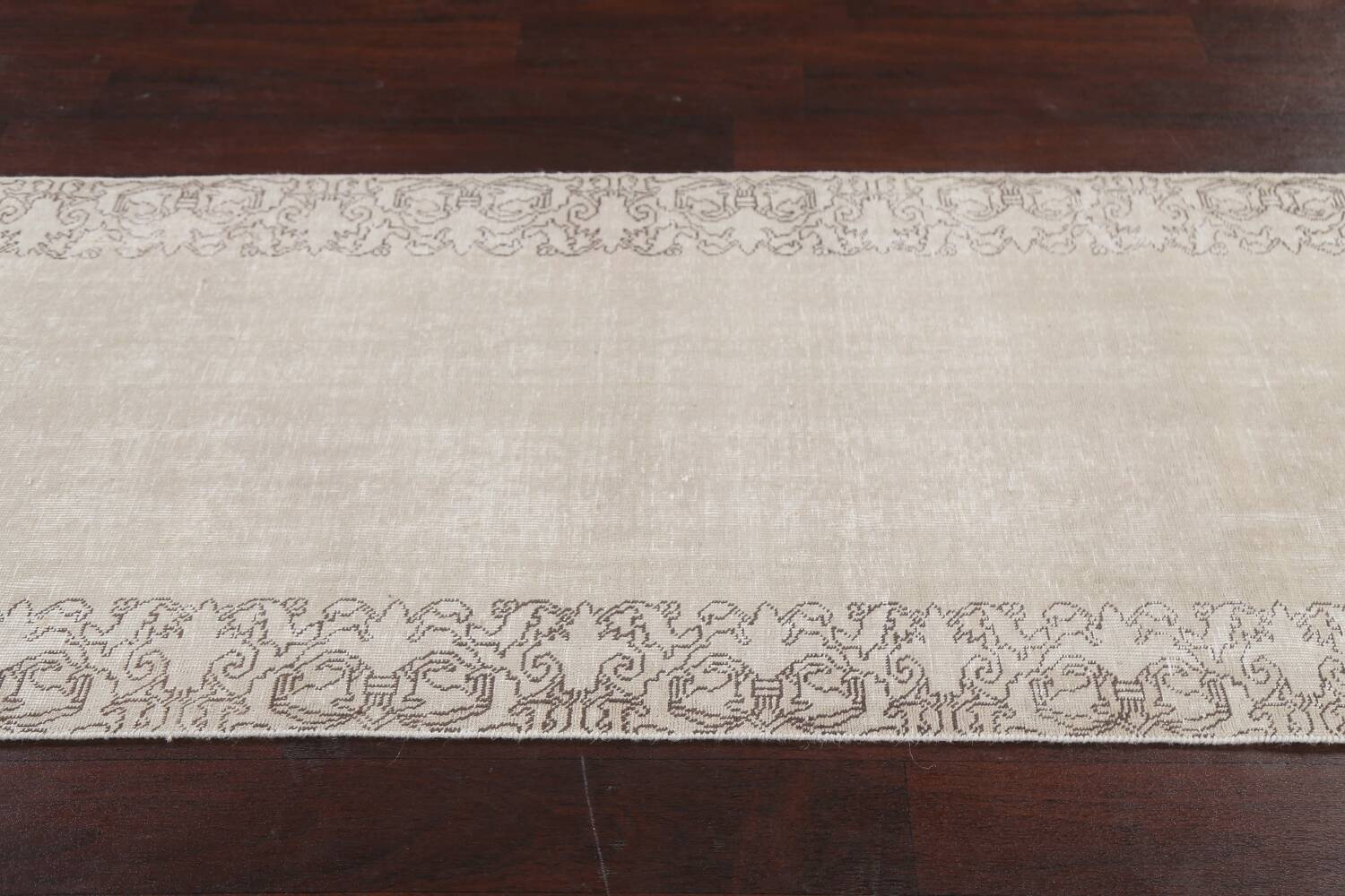 Muted Distressed Tabriz Persian Runner Rug 3x19 image 13