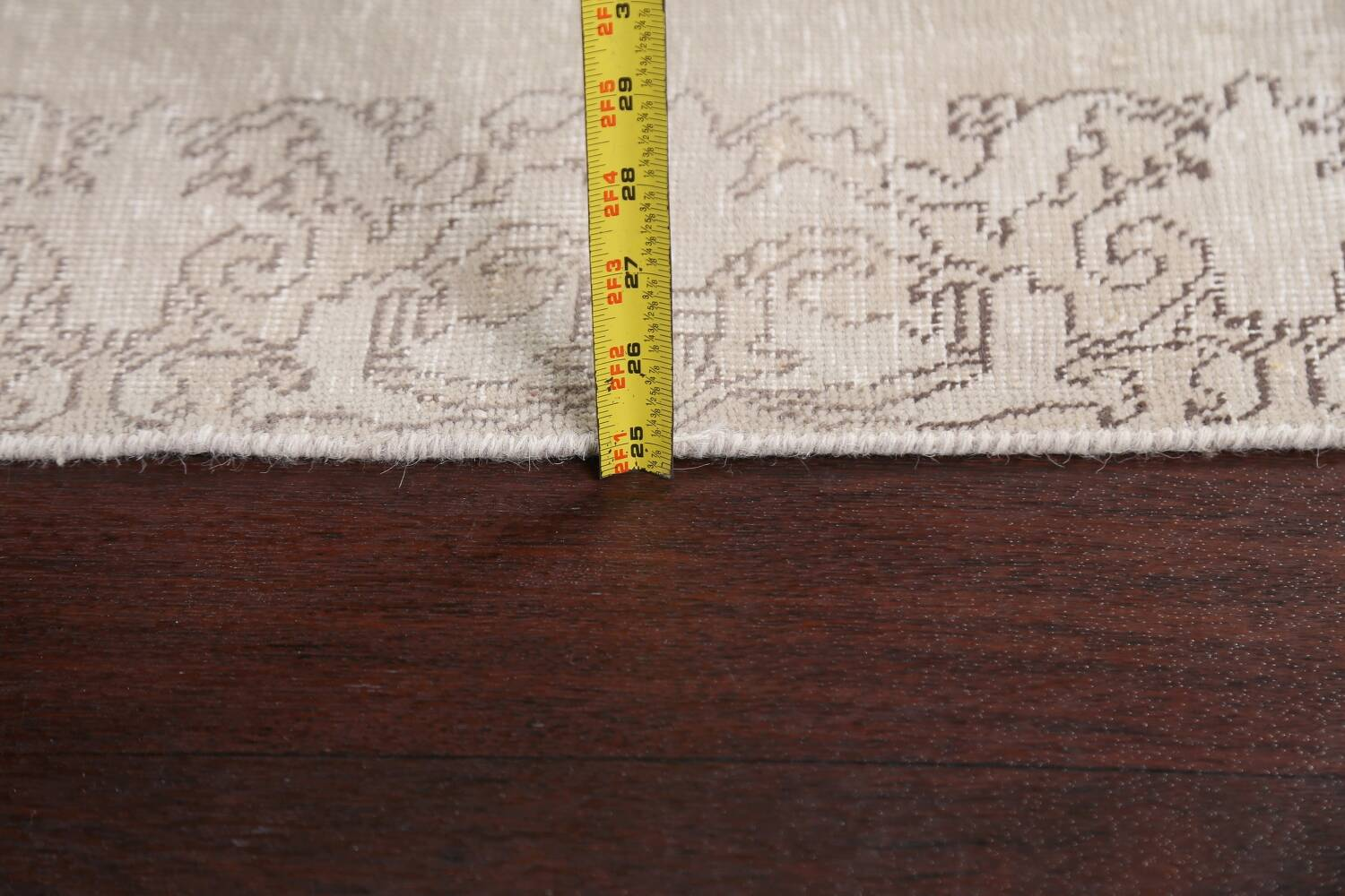 Muted Distressed Tabriz Persian Runner Rug 3x19 image 17