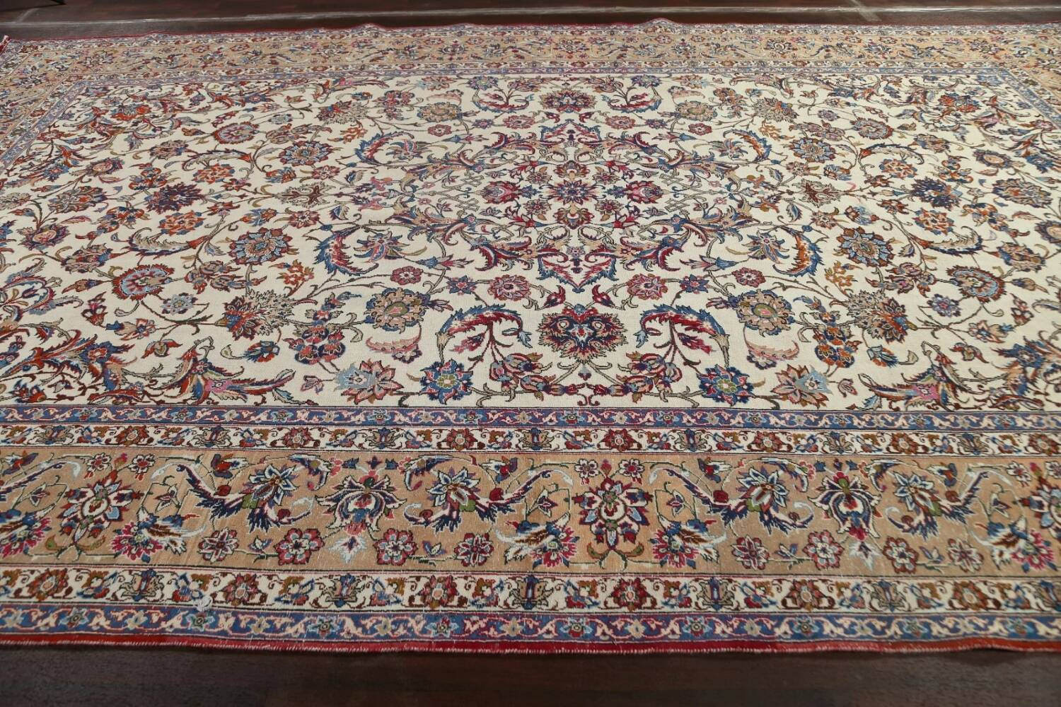 Antique Wool Oversized Isfahan Persian Rug 10x17 image 14