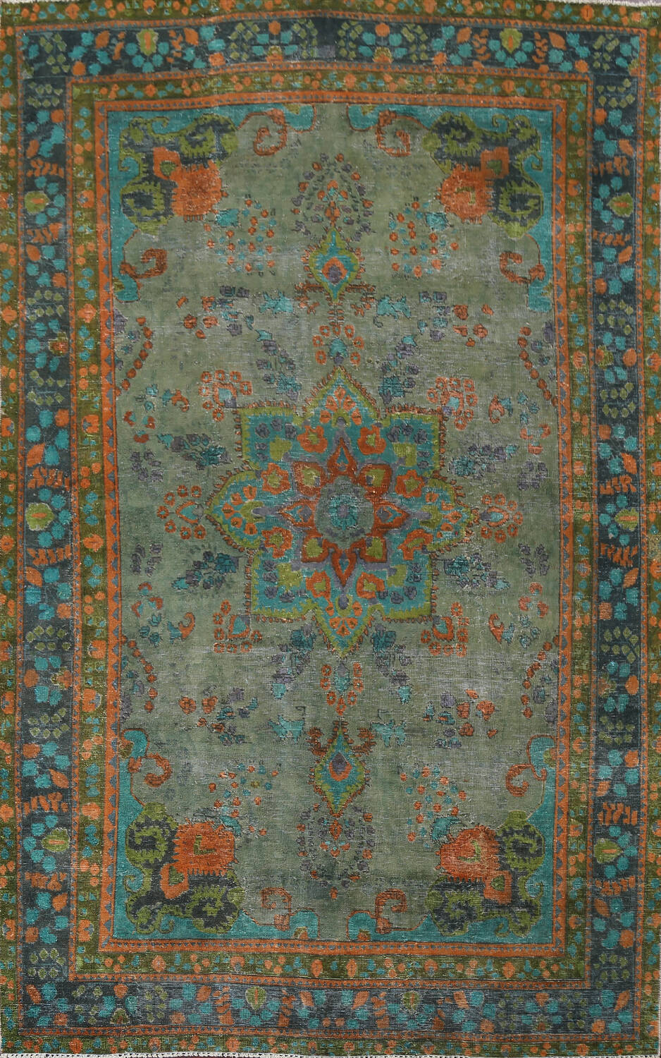 Antique Over-Dyed Distressed Tabriz Persian Area Rug 6x9 image 1