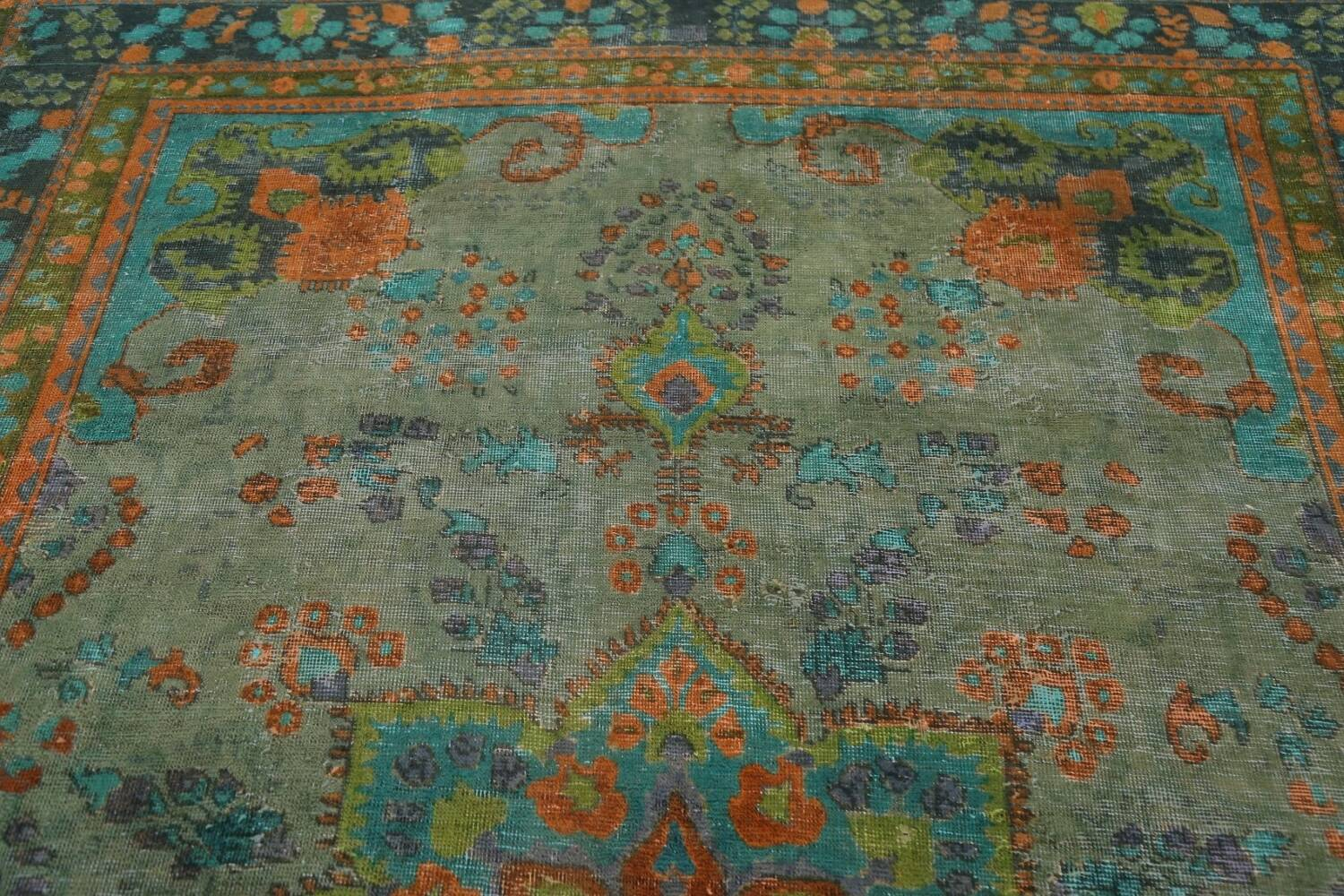 Antique Over-Dyed Distressed Tabriz Persian Area Rug 6x9 image 10