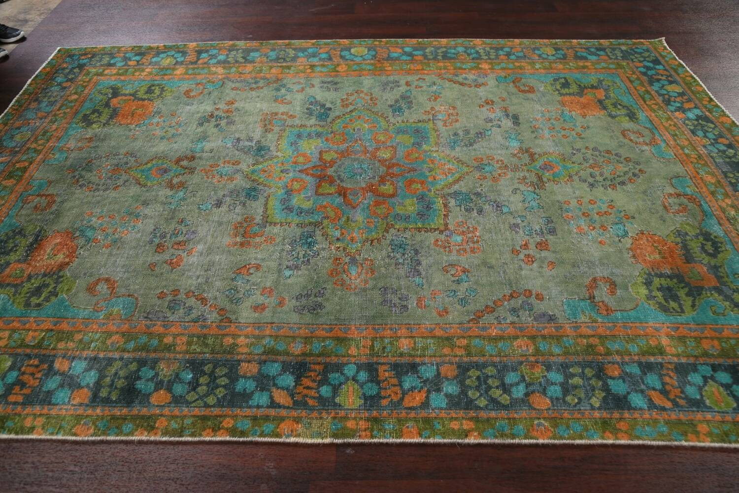 Antique Over-Dyed Distressed Tabriz Persian Area Rug 6x9 image 13