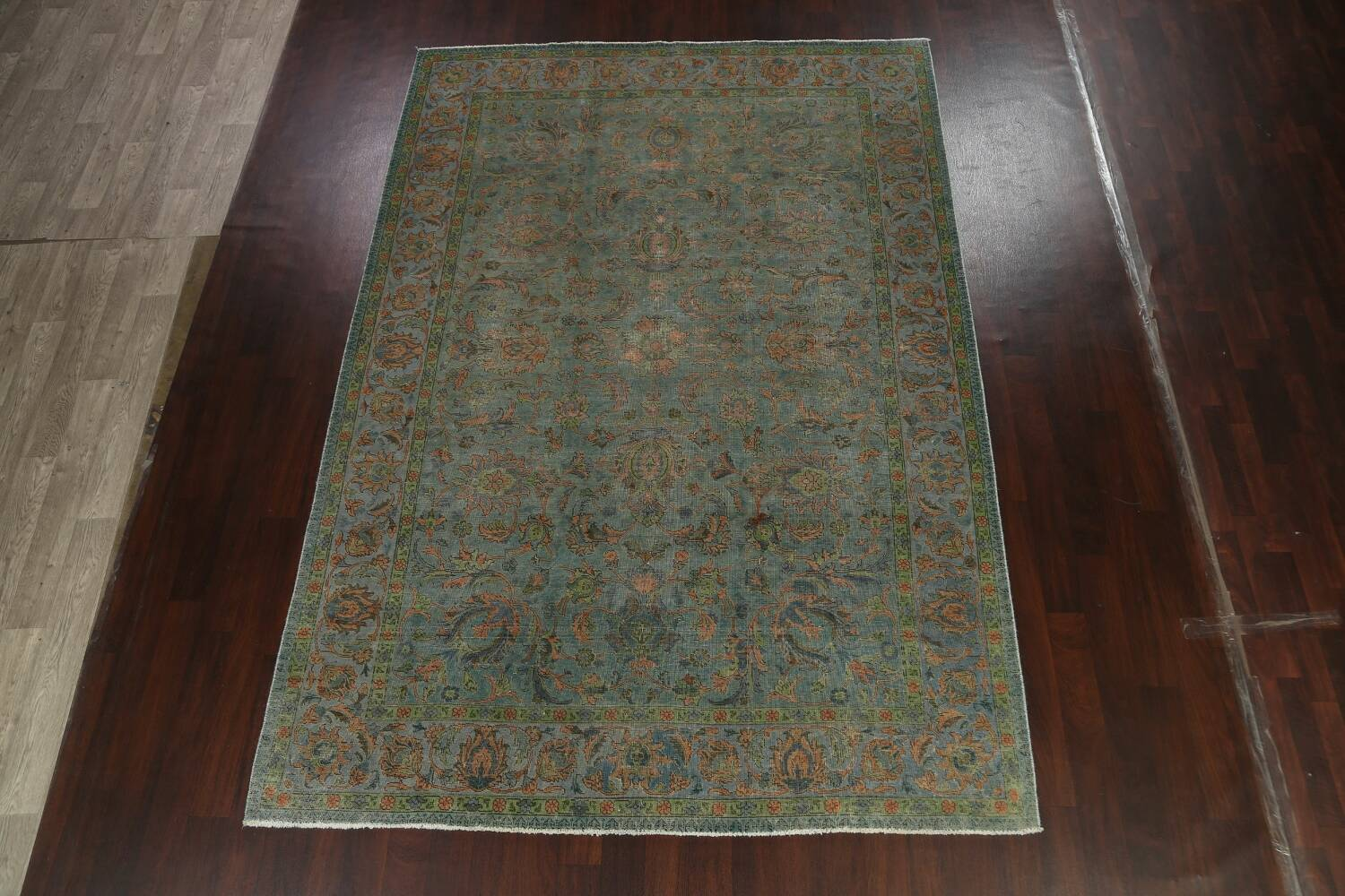 Distressed Over-Dyed Tabriz Persian Area Rug 8x11 image 2