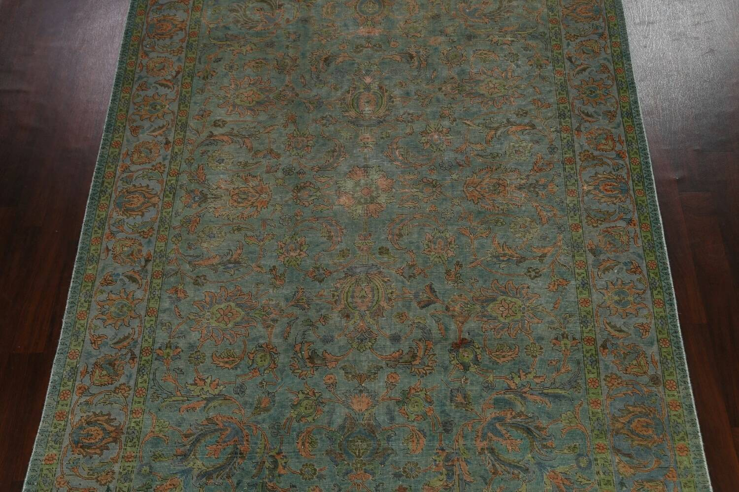 Distressed Over-Dyed Tabriz Persian Area Rug 8x11 image 3