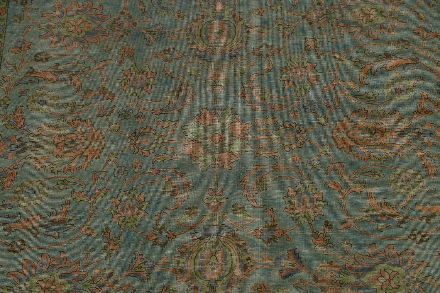 Distressed Over-Dyed Tabriz Persian Area Rug 8x11 image 4