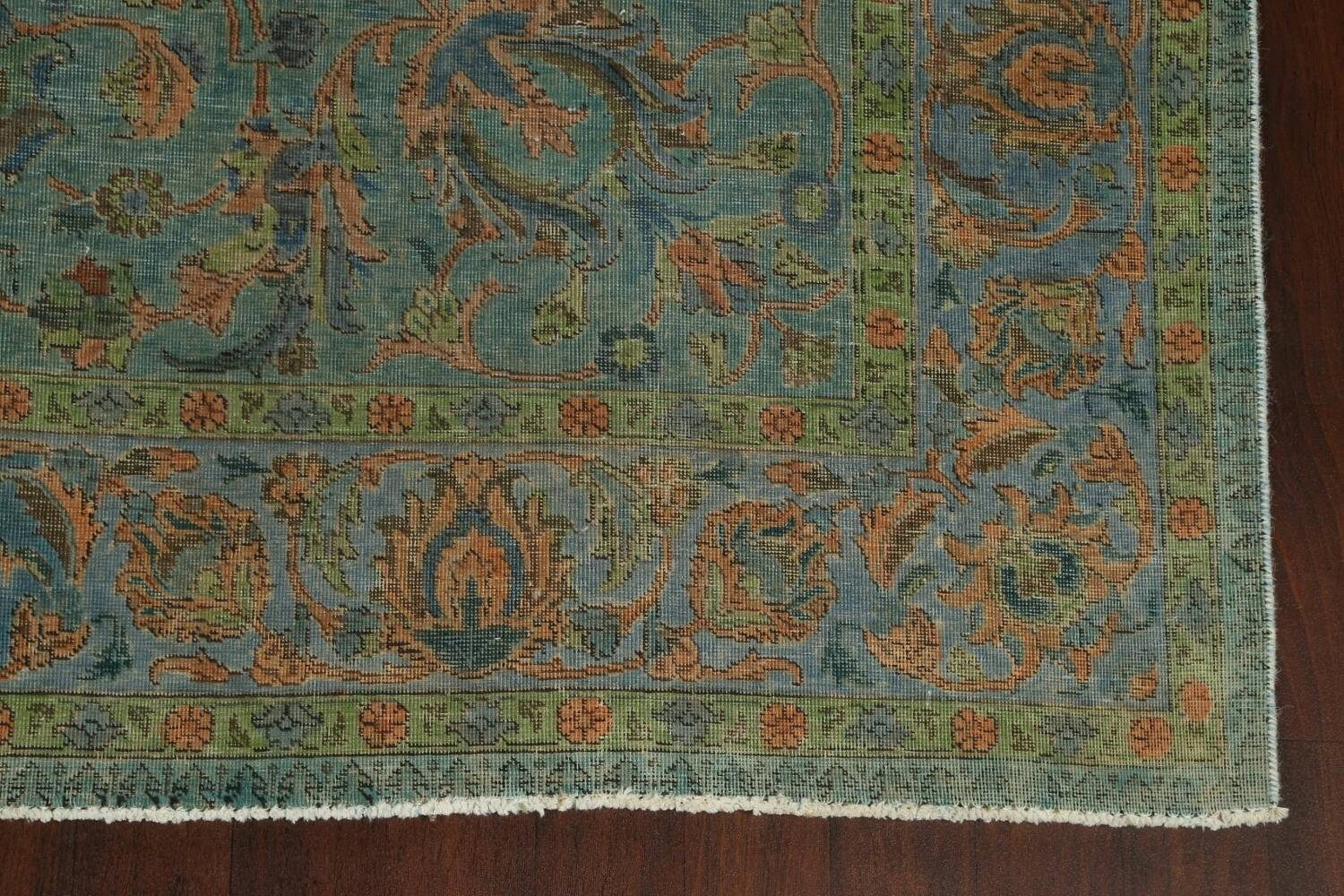 Distressed Over-Dyed Tabriz Persian Area Rug 8x11 image 6