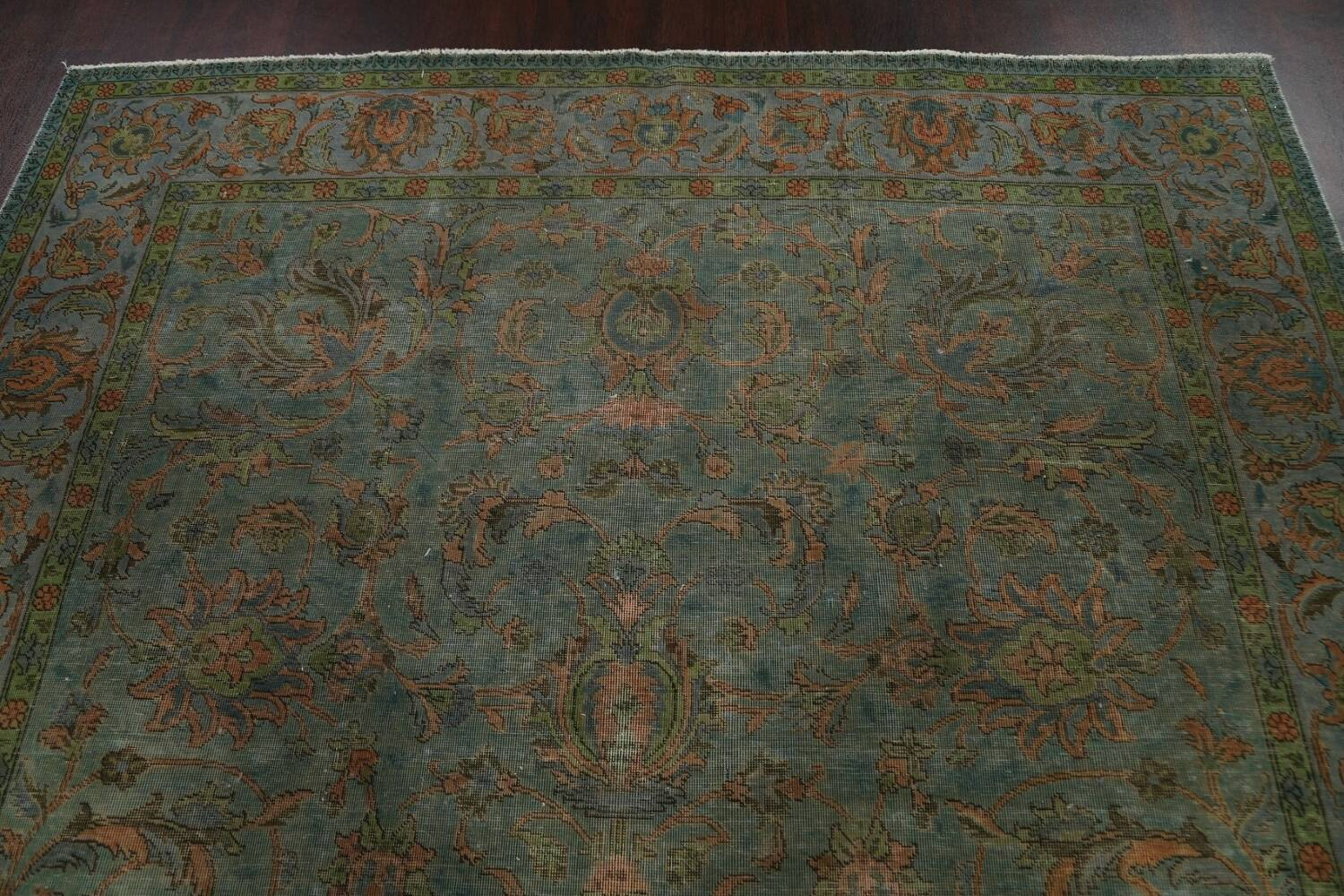 Distressed Over-Dyed Tabriz Persian Area Rug 8x11 image 9