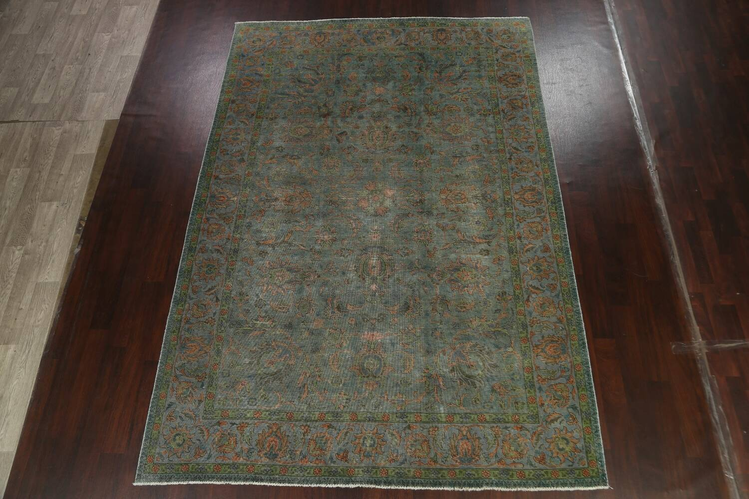 Distressed Over-Dyed Tabriz Persian Area Rug 8x11 image 13