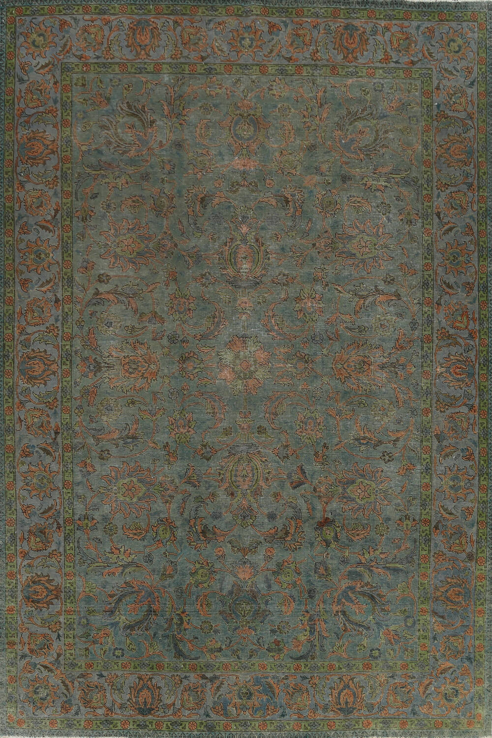 Distressed Over-Dyed Tabriz Persian Area Rug 8x11 image 1