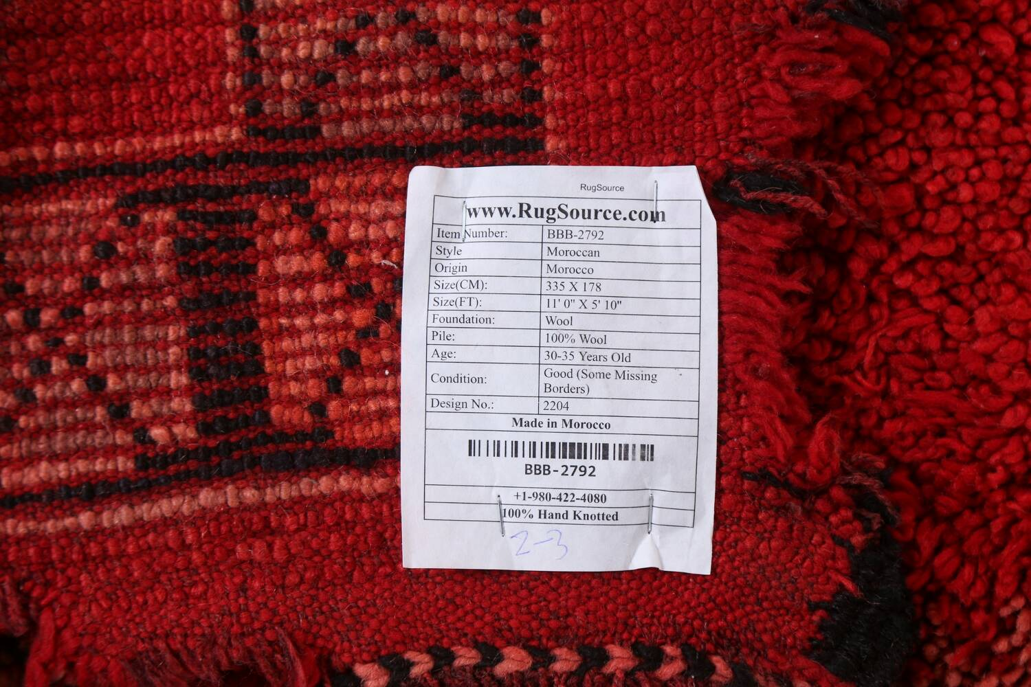 Red Moroccan Berber Area Rug 6x11 image 25