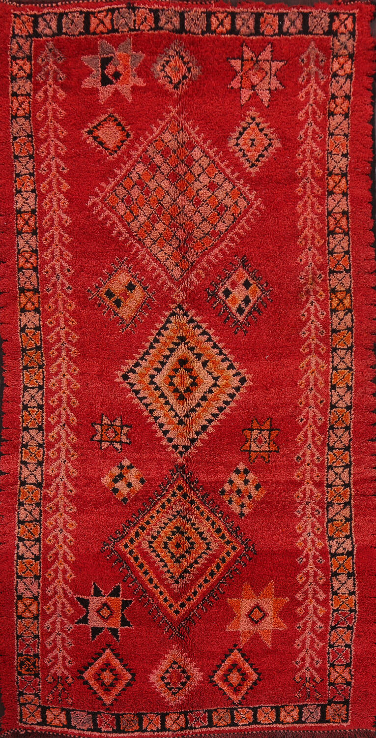 Red Moroccan Berber Area Rug 6x11 image 1