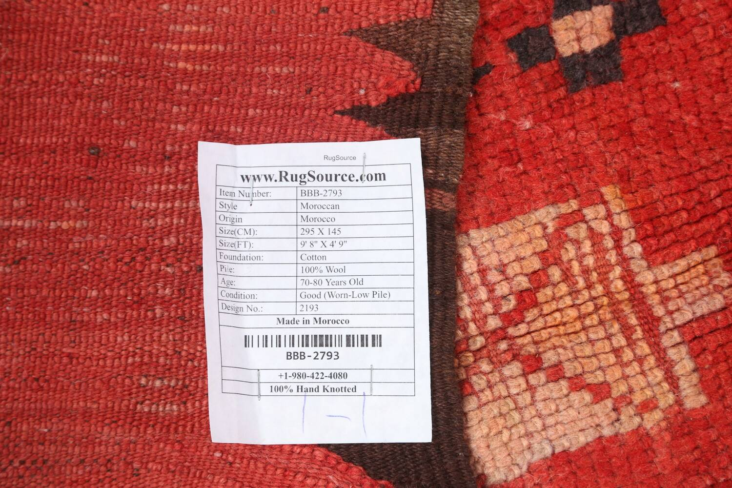 Antique Moroccan Wool Rug 5x10 image 22