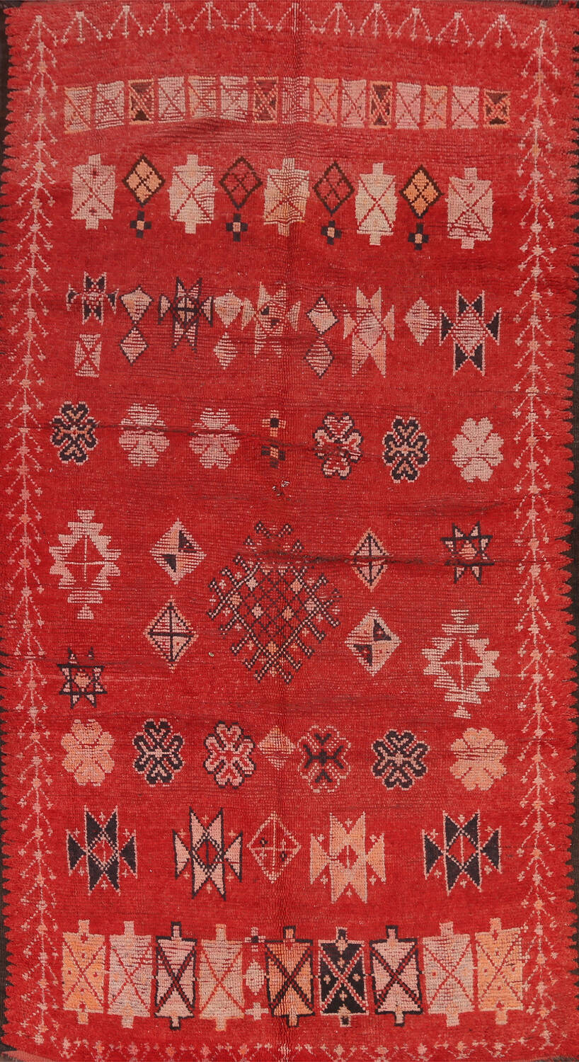 Antique Moroccan Wool Rug 5x10 image 1