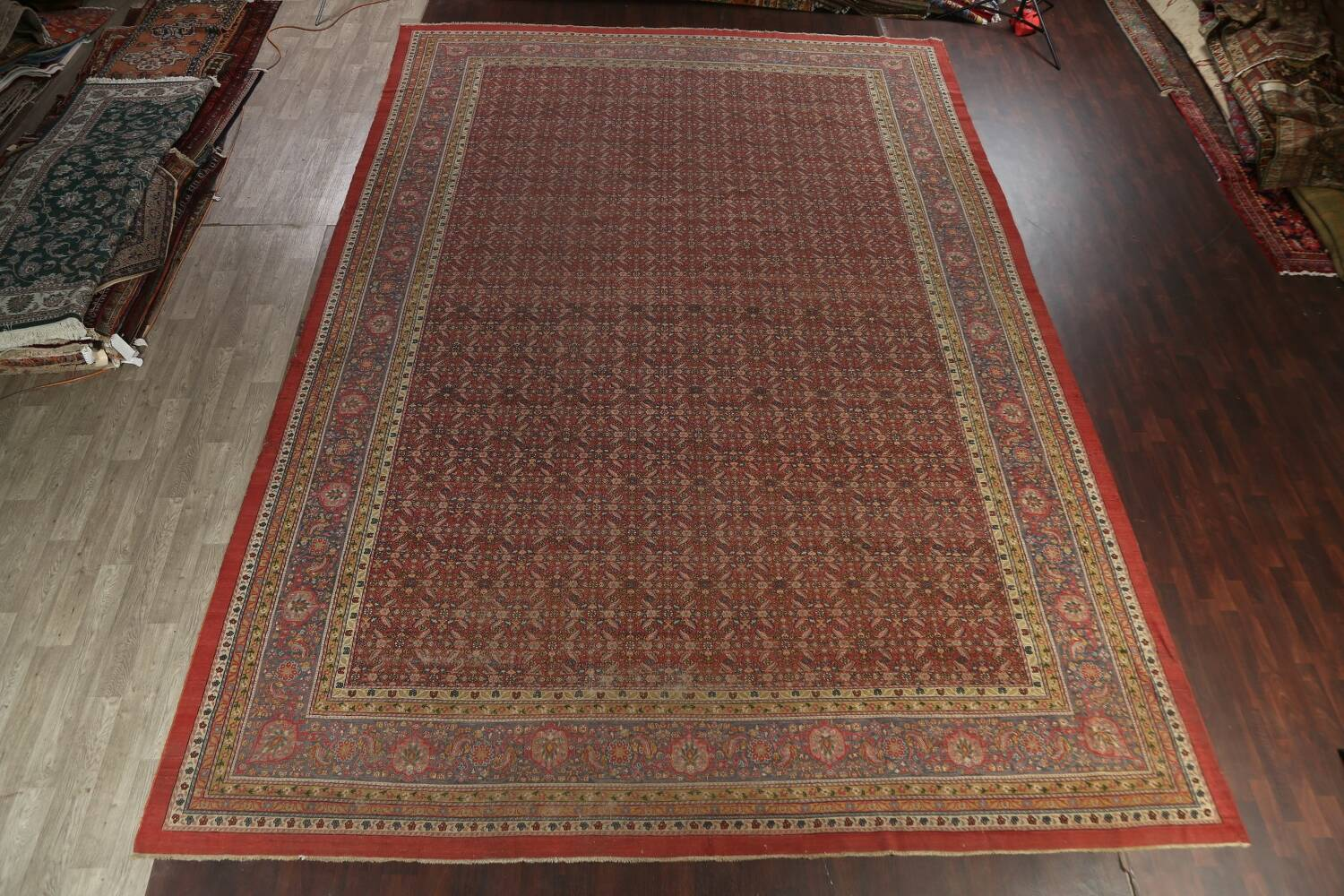 Antique Vegetable Dye Sultanabad Persian Rug 13x20 image 2