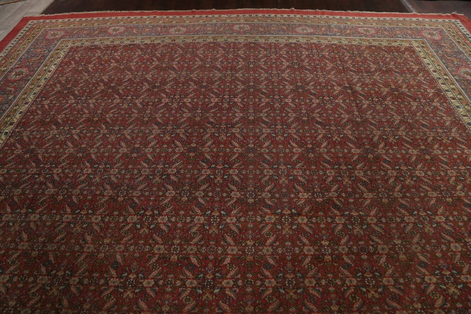 Antique Vegetable Dye Sultanabad Persian Rug 13x20 image 12