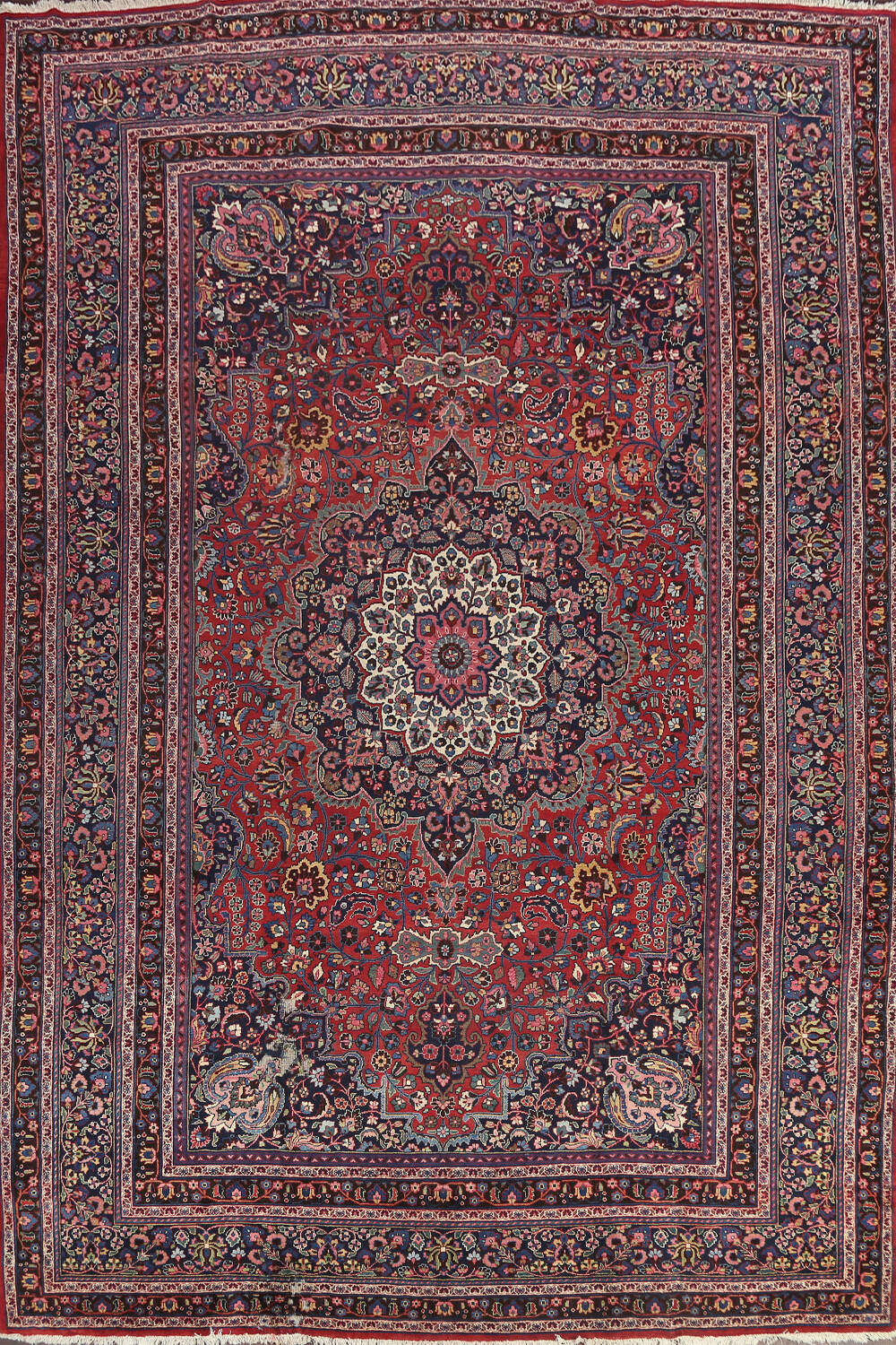 Hand-Knotted Mashad Persian Area Rug 10x14 image 1