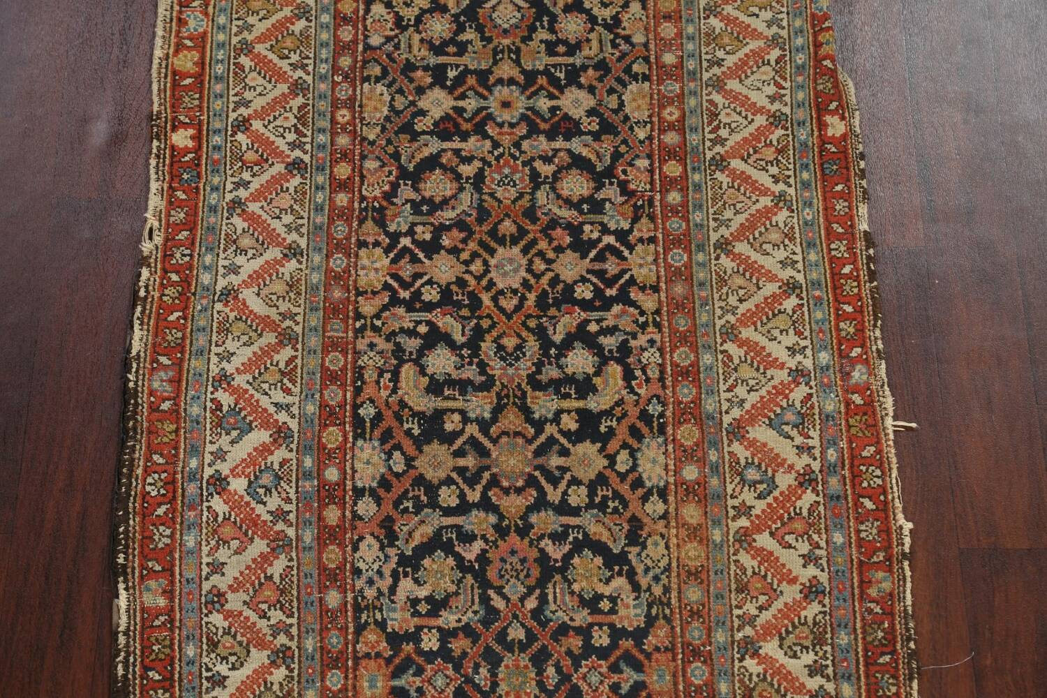 Pre-1900 Antique Vegetable Dye Malayer Persian Rug 3x13 image 4