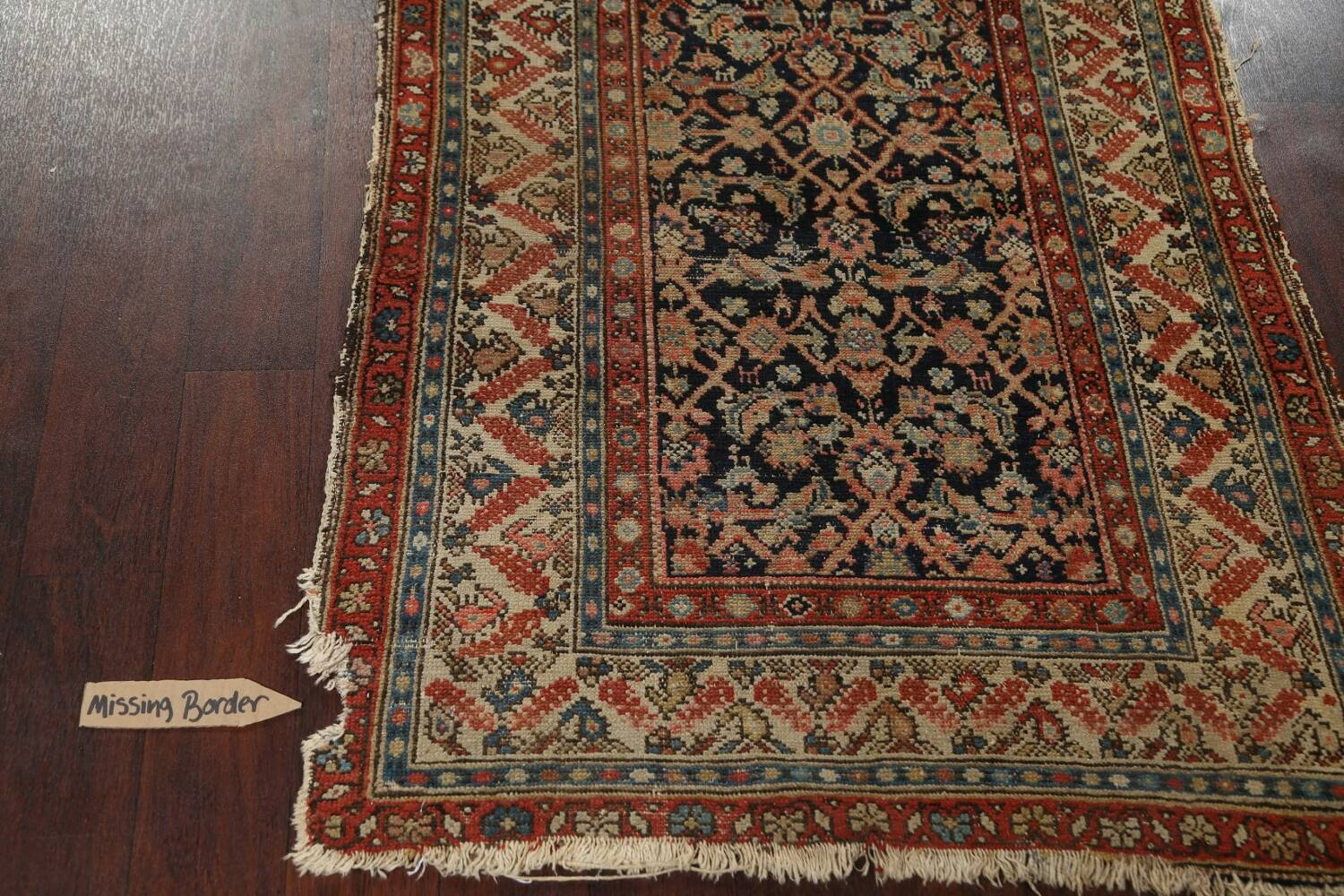 Pre-1900 Antique Vegetable Dye Malayer Persian Rug 3x13 image 10