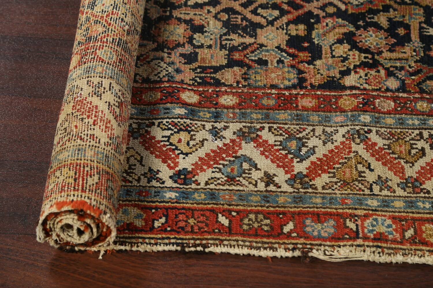 Pre-1900 Antique Vegetable Dye Malayer Persian Rug 3x13 image 16