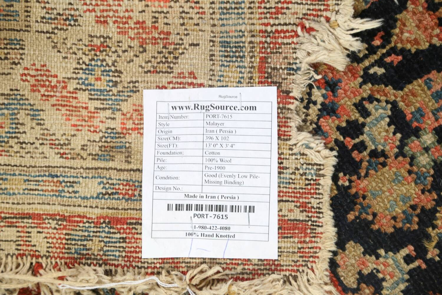 Pre-1900 Antique Vegetable Dye Malayer Persian Rug 3x13 image 20