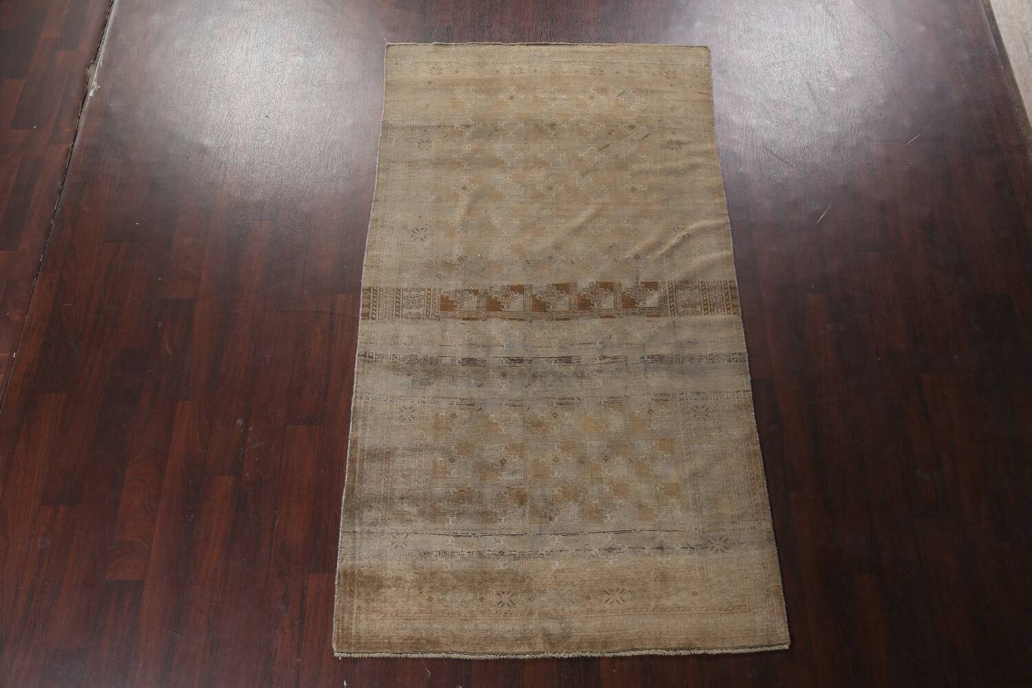 Antique Distressed Balouch Persian Wool Rug 4x8 image 2