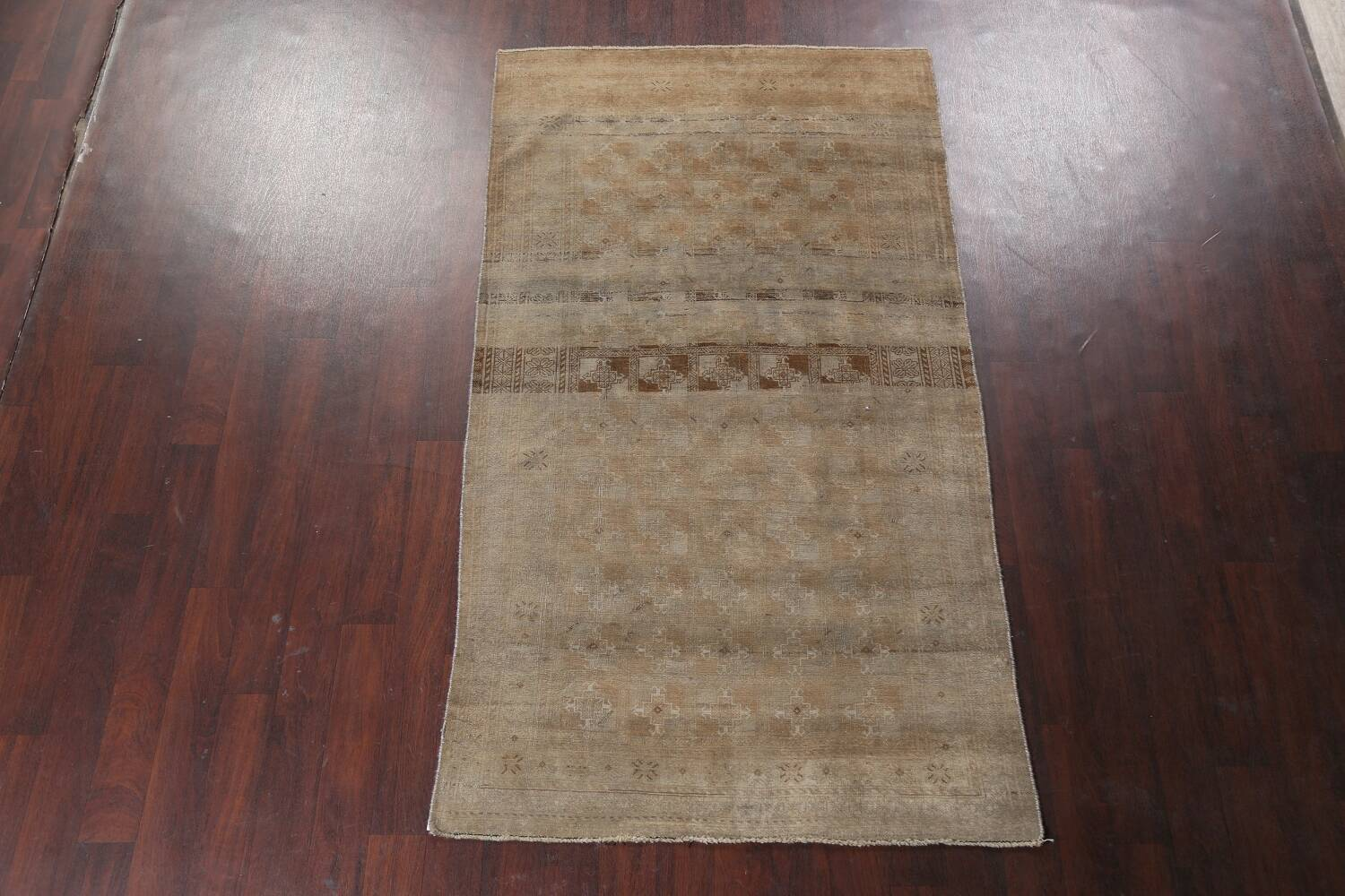 Antique Distressed Balouch Persian Wool Rug 4x8 image 16